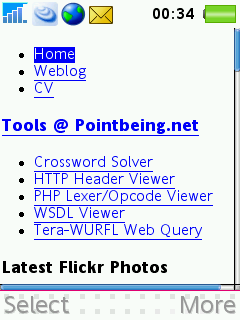 Pointbeing.net homepage viewed on a Sony Ericsson W880i