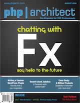 The cover of php|architect's August 08 issue